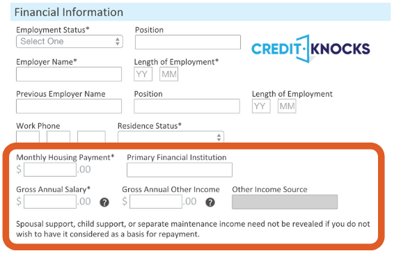 Reporting Income On Credit Card Application Credit KNocks