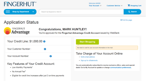 my credit journey Fingerhut Credit Card Account