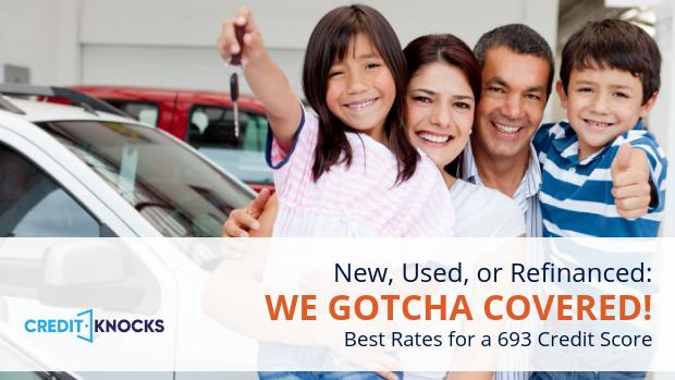 693 credit score Best Interest rates new used refinance car loan