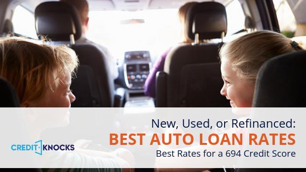 694 credit score Best Interest rates new used refinance car loan